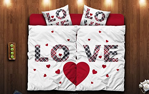 4 tlg. Partner Bettwäsche 135 x 200 cm Microfaser Love Pärchen Herz Premiumdruck