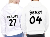 """2 Partner Look Hoodies """"BEAST"""" mit Wunschzahl und """"BEAUTY"""" Pärchen Pullover mit Kapuze als Geschenk zum Valentinstag Hochzeit oder Jahrestag (Weiß) -"""