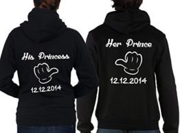 """2 Partner Look Hoodies """"Her Prince His Princess"""" mit Wunschdatum Pärchen Pullover mit Kapuze als Geschenk Valentinstag (Schwarz) -"""