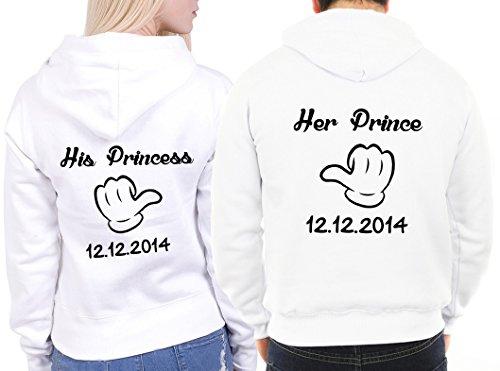 """2 Partner Look Hoodies """"Her Prince His Princess"""" mit Wunschdatum Pärchen Pullover mit Kapuze als Geschenk Valentinstag (Weiß) -"""