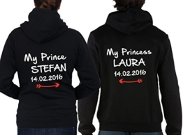 """2 Partner Look Hoodies """"My Prince"""" und """"My Princess"""" mit Wunschdatum und Wunschnamen Pärchen Pullover mit Kapuze als Geschenk Valentinstag (Schwarz) -"""