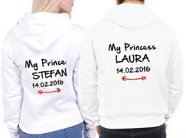 """2 Partner Look Hoodies """"My Prince"""" und """"My Princess"""" mit Wunschdatum und Wunschnamen Pärchen Pullover mit Kapuze als Geschenk Valentinstag (Weiß) -"""