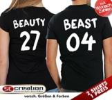 """2 Partner Look Shirts """"BEAST"""" mit Wunschzahl und """"BEAUTY"""" in versch. Farben für Pärchen als Geschenk zum Valentinstag oder Hochzeitstag (Schwarz (weiße Schrift)) -"""