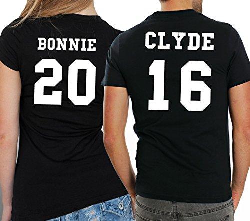 2 Partner Look Shirts Gangster Paar mit Wunschzahlen in versch. Farben für Pärchen als Geschenk zum Valentinstag oder Hochzeitstag (Schwarz) -