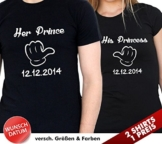 """2 Partner Look Shirts """"Her Prince"""" und """"His Princess"""" mit Wunschdatum für Pärchen als Geschenk - Valentinstag oder Hochzeitstag (Schwarz/Schwarz) -"""