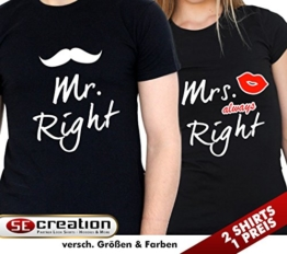 "2 Partner Look Shirts ""MR. Right"" und ""Mrs. always Right"" in versch. Farben für Pärchen als Geschenk zum Valentinstag oder Hochzeitstag (Schwarz) -"