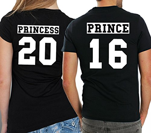 """2 Partner Look Shirts """"PRINCE"""" mit Wunschzahl und """"PRINCESS"""" in versch. Farben für Pärchen als Geschenk zum Valentinstag oder Hochzeitstag (Schwarz) -"""