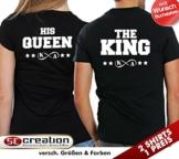 """2 Partner Look T-Shirts """"THE KING"""" und """"HIS QUEEN"""" mit Wunschnamen in versch. Farben für Pärchen als Geschenk zum Valentinstag oder Hochzeitstag (Schwarz) -"""