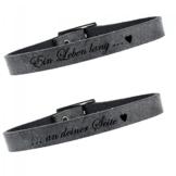 2er Set Partner Armband Leder 23 cm (grey) -