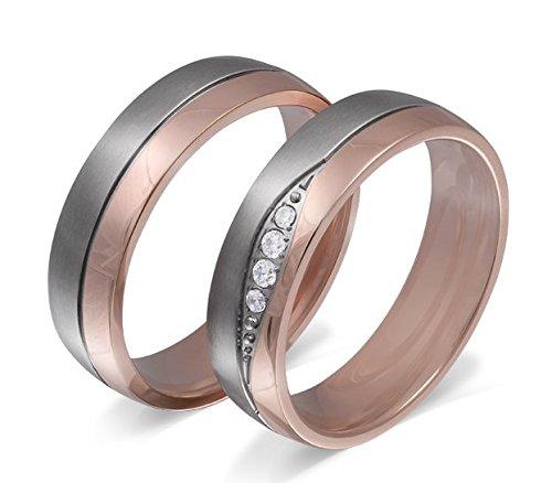Adomio -Ringe 2 Trauringe Verlobungsringe Edelstahl Rosegold vergoldet - 4 Zirkonia weiss gratis Wunschgravur E-FB-HD -