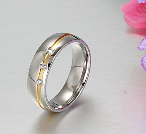 AnaZoz Schmuck Paar Eheringe aus Edelstahl mit 3 Zirkonia Verlobungsringe Partnerringe Frauenring Gold Silber -