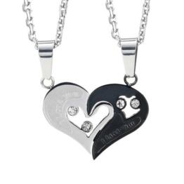 Atemberaubende 2 Stücke Für Sie und Ihn Paare Geschenk Herz Anhänger Liebe Halskette Set für Liebhaber Valentinstag 19 -