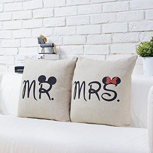 CIDBEST® Mr Mrs Kissenbezüge Liebhaber Hochzeit Kissen retro Baumwolle Kissen Buch Hochzeitsgeschenk Kaffee zuruck hotel Kissenbezug -