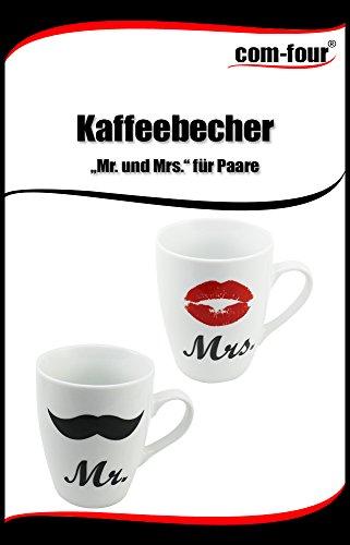 """COM-FOUR® 2er Kaffeebecherset """"Mr. und Mrs."""" für Paare, Porzellan, Geschenkset -"""