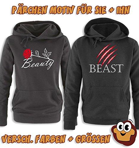 Comedy Shirts - BEAST - Herren Hoodie - Grau / Schwarz-Rot Gr. L -