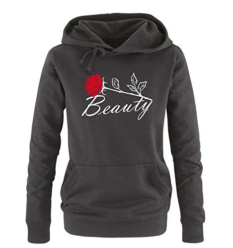 Comedy Shirts - BEAUTY - Damen Hoodie - Schwarz / Weiss-Rot Gr. S -