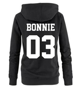 Comedy Shirts - BONNIE 03 - Damen Hoodie - Schwarz / Weiss Gr. S -