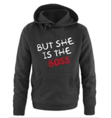 Comedy Shirts - BUT SHE IS THE BOSS - Herren Hoodie - Schwarz / Weiss-Rot Gr. L -