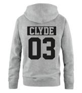 Comedy Shirts - CLYDE 03 - NEGATIV - Herren Hoodie - Grau / Schwarz Gr. XL -