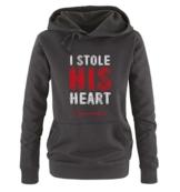 Comedy Shirts - I STOLE HIS HEART - Damen Hoodie - Schwarz / Weiss-Rot Gr. S -