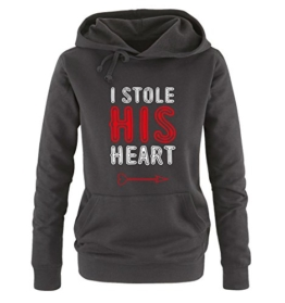 Comedy Shirts - I STOLE HIS HEART - Damen Hoodie - Schwarz / Weiss-Rot Gr. S -