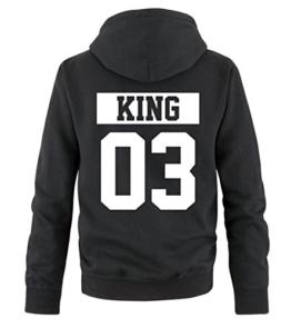 Comedy Shirts - KING 03 - NEGATIV - Herren Hoodie - Schwarz / Weiss Gr. L -