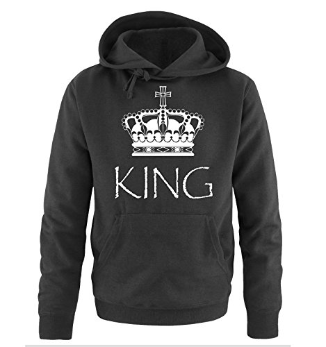 Comedy Shirts - KING - Herren Hoodie - Schwarz / Weiss Gr. M -