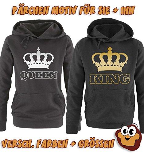 Comedy Shirts - KING - KRONE II - Herren Hoodie - Grau / Schwarz Gr. XL -
