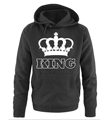Comedy Shirts - KING - KRONE II - Herren Hoodie - Schwarz / Weiss Gr. XL -