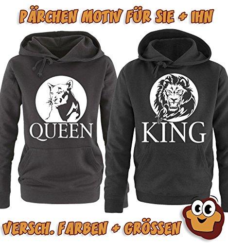 Comedy Shirts - LION - QUEEN - Damen Hoodie - Grau / Schwarz Gr. M -
