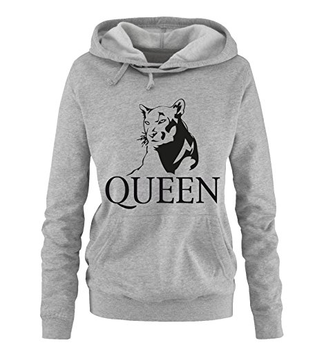 Comedy Shirts - LION - QUEEN - Damen Hoodie - Grau / Schwarz Gr. M -