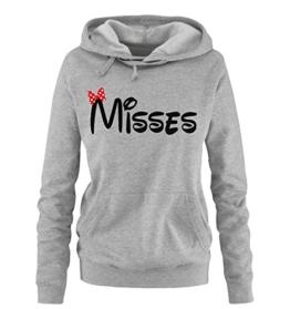 Comedy Shirts - MISSES - Comic - Damen Hoodie - Grau / Schwarz-Rot Gr. S -