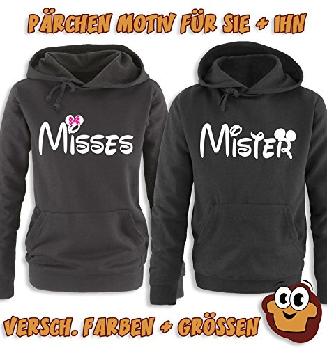 Comedy Shirts - MISSES - Minnie - Damen Hoodie - Schwarz / Weiss-Pink Gr. S -