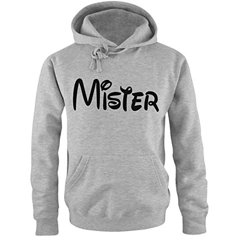 Comedy Shirts - MISTER - Comic - Herren Hoodie - Grau / Schwarz Gr. L -