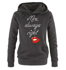 Comedy Shirts - MRS. ALWAYS RIGHT Damen Hoodie - Schwarz / Weiss-Rot Gr. S -