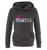 Comedy Shirts - Princess - Damen Hoodie - Schwarz / Weiss-Pink Gr. S -
