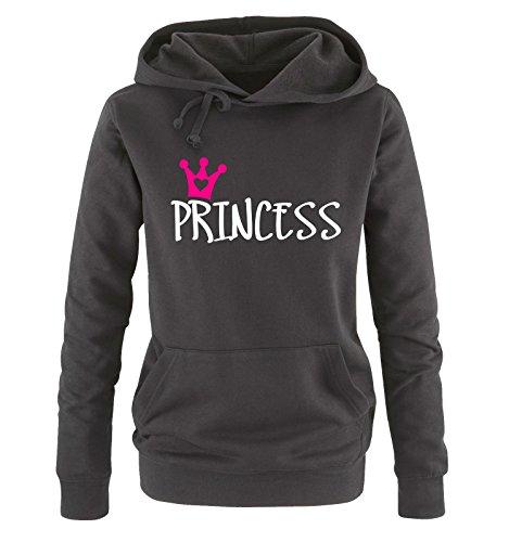 Comedy Shirts - Princess - Damen Hoodie - Schwarz / Weiss-Pink Gr. M -