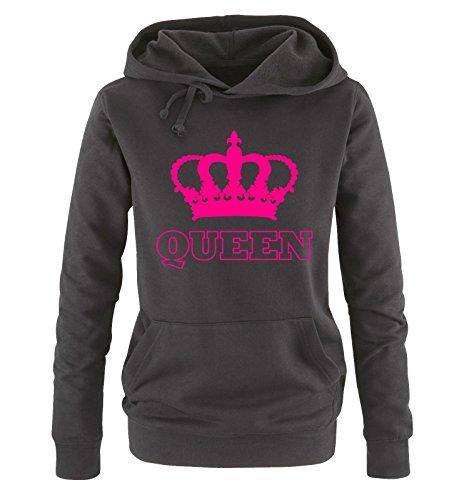 Comedy Shirts - QUEEN - KRONE II - Damen Hoodie - Schwarz / Pink Gr. S -