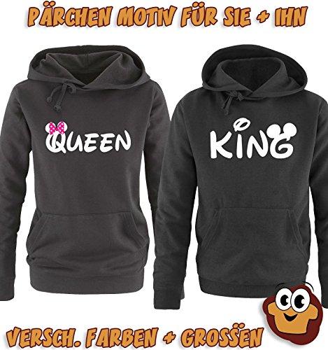 Comedy Shirts - QUEEN - Minnie - Damen Hoodie - Schwarz / Weiss-Pink Gr. S -