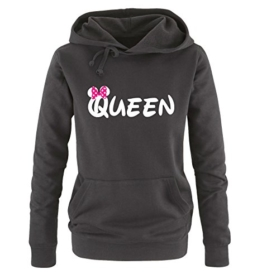Comedy Shirts - QUEEN - Minnie - Damen Hoodie - Schwarz / Weiss-Pink Gr. S -