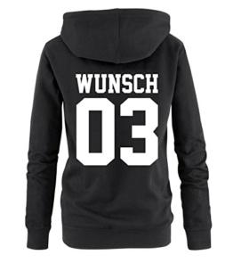 Comedy Shirts - WUNSCH - Damen Hoodie - Schwarz / Weiss Gr. M -