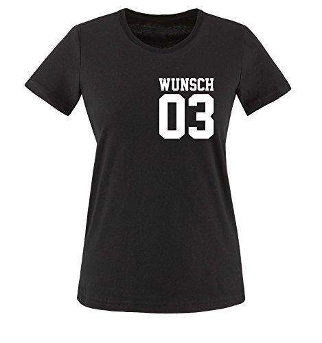 Comedy Shirts - WUNSCH - Damen T-Shirt - Schwarz / Weiss Gr. M -