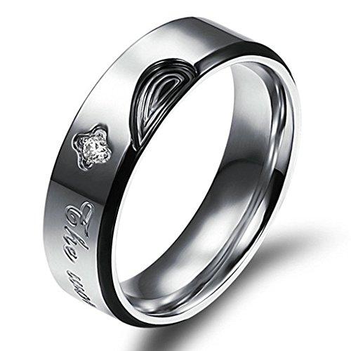 Daesar Edelstahl Trauringe Für Herren Damen Herz Puzzle Fingerabdruck Liebe Prongs mit CZ Intarsien Ring Größe 57 (18.1) -