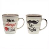 Das 2er Set Mr. Right und Mrs. always Right Kaffeebecher in Geschenkverpackung -
