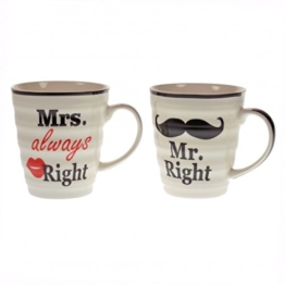 Das 2er Set Mr. Right und Mrs. always Right Kaffeebecher in Geschenkverpackung -