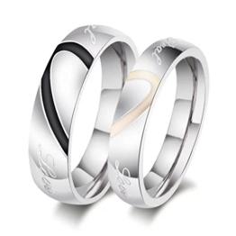 Delove Schmuck Edelstahl LOVE Herz Partnerringe Freundschaftsringe Eheringe Trauringe Verlobung Ringe Band, Schwarz Gold Silber 8 Zentimeter CR-001R -
