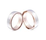 Flame -Ringe 2 Trauringe Titan Rosegold vergoldet Zirkonia mindestens 36 Steine weiss -gratis Gravur T-AT-HD -