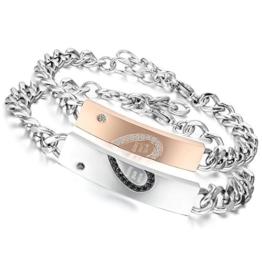Flongo 2 PCS With Wish Love and Happiness Herz Edelstahl Armband Link Handgelenk Zirkonia Zirkon Silber Schwarz Rose Gold Panzerkette Kette Herren,Damen -