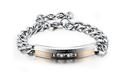 HITOP Männer Frauen 2 Stück Edelstahl Armband-Verbindungs-Handgelenk-CZ-Silber-Schwarz-Rosen-Goldpanzerkette -