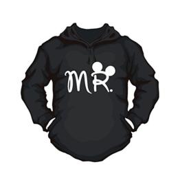 Hoodie Mr. für Herren Partnerpullover für Paare, Hoody Mickey partner für Sie und Ihn Paar Pulli couple T-Shirt Mr. Mrs Neu trend (L, schwarz) - 1